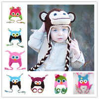 Boy Summer Crochet Hats Free shipping Cartoon Designs Cotton Handmade Children Crochet Hats Various Animal Styles Baby Owl Beanie Hat Kids Flower Cap