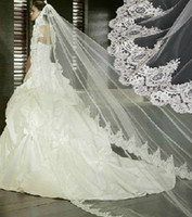 One-Layer accessories training - Hot Sale Cathedral Train Ivory Long Wedding Veils Lace Edge Mantilla Long Bridal Accessories For Wedding Dresses Vintage