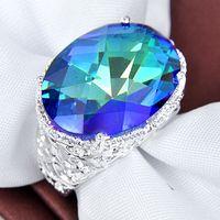 Gemstone ring - Supply new fine sterling genuine Mystic topaz gemstone Ring CR0650