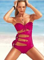 Women Bikinis Dot Wholesale - 2013 high quality nd design sexy women's bikini one piece monokini swimwear for women jumpsuits red plus size s m l