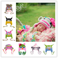 Wholesale 15 Colors Winter Parrot Owl Handmade Baby Hat For Girls And Boys Ear Protector Warm Knitted Cap Beanie Kids Flower Cap