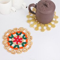 Wholesale European creative exquisite bamboo mat insulation mat table mat round bowl pad mat plate mat pot holder