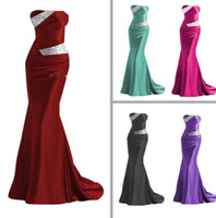 Wholesale Cheap in Stock Hot Sexy Strapless Beaded Silver Colorful Elastic Satin Mermaid Satin Bridesmaid Evening Prom Dresses under LFC035
