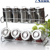 Wholesale Glass Spice Bottle Kitchen Accessories Supplies Seasoning Box Spice Jar Shelf Piece Set With Stand Cooking Tools Sushi