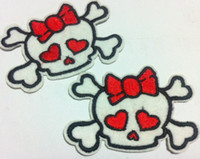 Wholesale Wholesales Pieces Cutie Heart Skull x cm Cool Patch Embroidered Iron on Applique Patch P