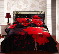 Adult Twill 100% Cotton 3D red floral flower bedding set queen king duvet cover quilt cover bed linen bed sheet bedspread oil painting cotton bed set pillowcase