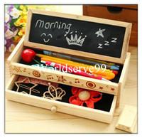 Wholesale Multifunctional Pencil Wooden Box Stationery Holder Drawer Pen Brush Case Organizer School Kids Gifts