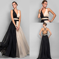 Wholesale Vogue Deep V Neck Double Colors Evening Dresses A Line Chiffon Ruffles Sash Backless Floor Length Prom Bridesmaid Dress Celebrity Gown