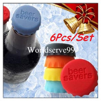 Wholesale 6X Rubber Beer Bottle Tops Colorful Drinks Saver Stopper Lid Cap Stocking Filler Reusable