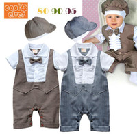Wholesale New Arrival baby clothing suits Boys lace gentleman sleeved leotard Hat Baby Romper climbing clothes