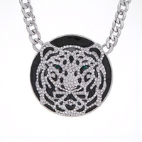 Wholesale Tiger Head Necklace New Women High Quality Silver Chain Rhinestone Luxury Pendant Necklaces Fashion Jewelry