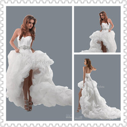 Wholesale 2014 Hot Sell Sexy Sweetheart Hi Lo Bridal Gowns Organza Bubble Hem Lace Up Back Wedding Dresses Other Wedding Gown