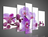 Wholesale 110cm cm hand painted oil wall art Purple flowers water side home decoration abstract Landscape oil painting on canvas DY