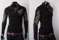 Wholesale 2014 NEW STYLE Eagle Wings Tattoo Print Long Sleeve Shirt Lapel Brand POLO shirt