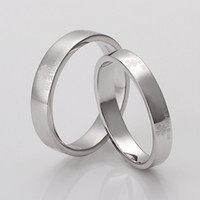 Wholesale Lucky Clover Couple Rings Silver Simple Style Wedding Engagement Ring Best Gift