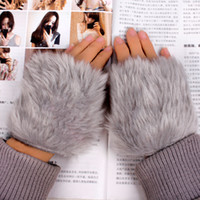 Wholesale Golden Delicious Korean imitation rabbit fur to keep warm in winter half female short paragraph refers cute wool gloves mitts keyboard