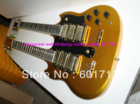 Solid Body 6 Strings Mahogany New Arrival Goldtop 3 Pickups Double Neck Electric Guitar Abalone Inlay Fingerboard