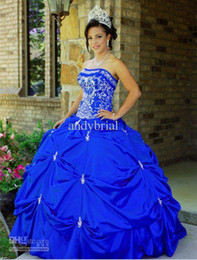 Wholesale 2014 Top Glamorous Embroidery Strapless Ball Gown Blue Quinceanera Dresses Floor Length Evening Gown Taffeta Prom Gown