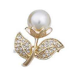 1 Inch Gold Plated Cream Imitation Pearl and Rhinestone Crystal Diamante Small Flower Brooch Pins Gifts