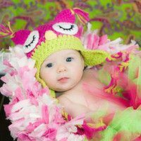 Wholesale Animal prints Hat Owl Best price Handmade Knitted Crochet Baby Hat owl hat with ear flap D705H