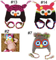 Boy Winter Crochet Hats Retail hat Animal prints Hat Owl Best price - Handmade Knitted Crochet Baby Hat owl hat with ear flap -D707H
