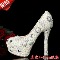Wholesale Fashion Pearl Crystal Beaded Wedding Shoes Round Toe lady s formal shoes Women s High Heels Bridal Evening Prom Party Bridesmaid Shoes