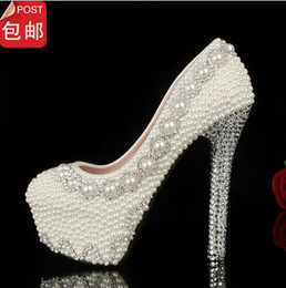 Wholesale Fashion Round Toe Pearl Crystal Beaded Wedding Shoes Women s High Heels Bridal Evening Prom Party Bridesmaid Shoes