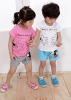 Wholesale 2014 new girls and boys mouse clothing sets children tracksuits kids summer clothes cotton top quality B14