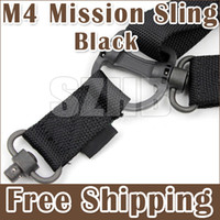 Wholesale Airsoft Hunting M4 Nylon Quick Detach Mission System Elastic Strap Bunge Snap Hook Sling Guns Shooting Black