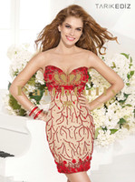 Wholesale Sexy Red and Nude Sheer Backless Formal Cocktail Dresses Beaded Scoop Neck Flowers Bodice Short Party Prom Gowns Tarik Ediz