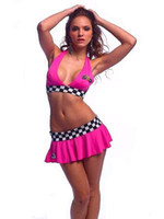 Wholesale New Sexy lingerie sexy racer ysf8782 hot pink top mini skirt One Size