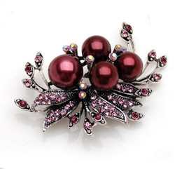 Wholesale Vintage Style Antique Gold Plated Burgundy Color Rhinestone Crystal Diamante and Faux Pearl Wedding Bow Brooch Pin