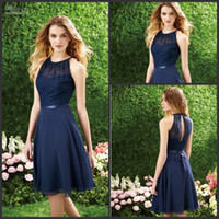 Wholesale Fast Shipping Dark Navy Halter Lace Top Knee Length Chiffon Bridesmaid Dress Party Dresses