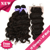 Wholesale 6A Eurasian Virgin hair natural wave Piece Lace Top Closure with Hair Bundle