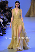 Reference Images V-Neck Organza 2014 Elie Saab Spring High Couture Floor Length Chiffon Long Gold Silt Evening Dresses Cheap New