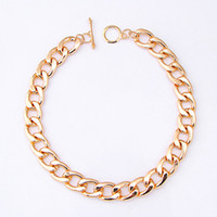 Wholesale Punk Style Necklace Cut Aluminium Link Chain Choker Chunky Shiny Gold Curb Chain Necklaces