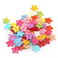 Quilt Accessories Buttons Nickel-Free Wholesale Price 200pcs Mixed Colorful Star Shaped 2 Hole Nylon Sewing Buttons Scrapbooking 111637
