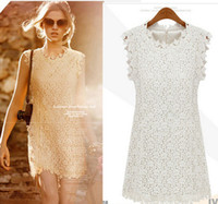 Wholesale Lace Beige Brief Cute Dress for women New Arrival European High Quality Spring Female Fashion Office Work Wear Mini Sundresses