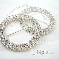 Wholesale Round Crystal Rhinestone Buckle in Silver Rows mm wedding JF9143S