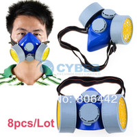 TK0858# Gray PVC 8Pcs Lot Double Gas Mask Protection Filter Chemical Gas Respirator Face Mask Dropshipping TK0858