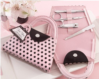 Manicure Kit baby shower favors free shipping - 20pcs Pink Polka Dot Purse Manicure Set wedding baby shower favors and gifts