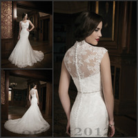Wholesale 2014 New Style High Neck Mermaid Wedding Dresses for Chapel Wedding Bride Vintage Lace Court Train Charming Bridal Gowns Dresses