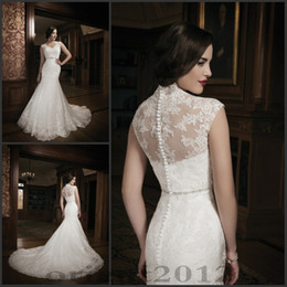 Wholesale 2015 Wedding Dresses Bridal Gowns Floor Length Dresses Lace Wedding Gowns mermaid style wedding gowns Custom Made