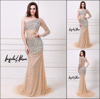 Sexy 2014 Mermaid Prom Dresses Single Sleeve Colorful Crysta...