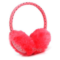 Wholesale 4pcs Winter Colorful Faux rabbit fur Dots Design Earmuff muffs cover Warm Earcap Earwarmers