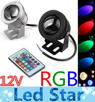 Wholesale 10W RGB Floodlight Underwater LED Flood Lights Swimming Pool Outdoor Waterproof Round DC V Convex Lens