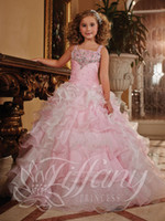 Wholesale 2015 Hot Sale Little Girl s Pageant Dresses Spaghetti Crystal Beaded Ruffled Draped Organza Belt Ball gown Floor Length Formal Girl Dress