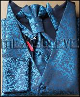 Wholesale Tuxedo Waistcoat Vest Men Blue Flower designs sets