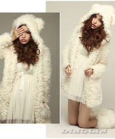 Coats Women Cotton Fashion Women Long Sleeve Winter Fluffy Velvet Fur Thicken Warm Soft Hooded Parka Coat Overcoat Beige Free Shipping 0061