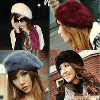 Wholesale Fall Winter New Pretty Girls Wool Berets Fashion Women Warm French Beret Hats Ladies Berets Girls Rabbit fur Caps colors
